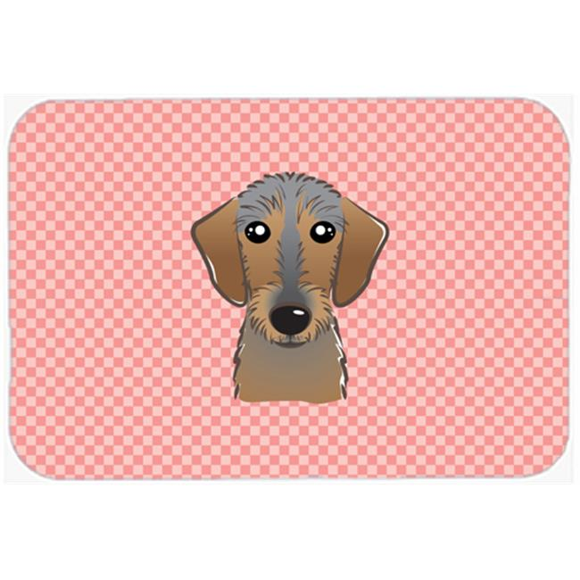 Checkerboard Blue Wirehaired Dachshund Mouse Pad, Hot Pad Or Trivet, 7.75 x 9.25 In.