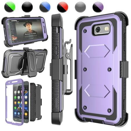 J3 2017 Case,Galaxy Express Prime 2 Holster Belt,Njjex [Built-in Screen] with Kickstand + Bonus Belt Clip Phone Case Cover For Samsung Galaxy Amp Prime 2/ J3 Luna Pro / Express Prime 2 / J3 2017 ()
