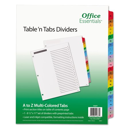 Generic Punch - Office Essentials Tables and Tabs A-Z Index Divider