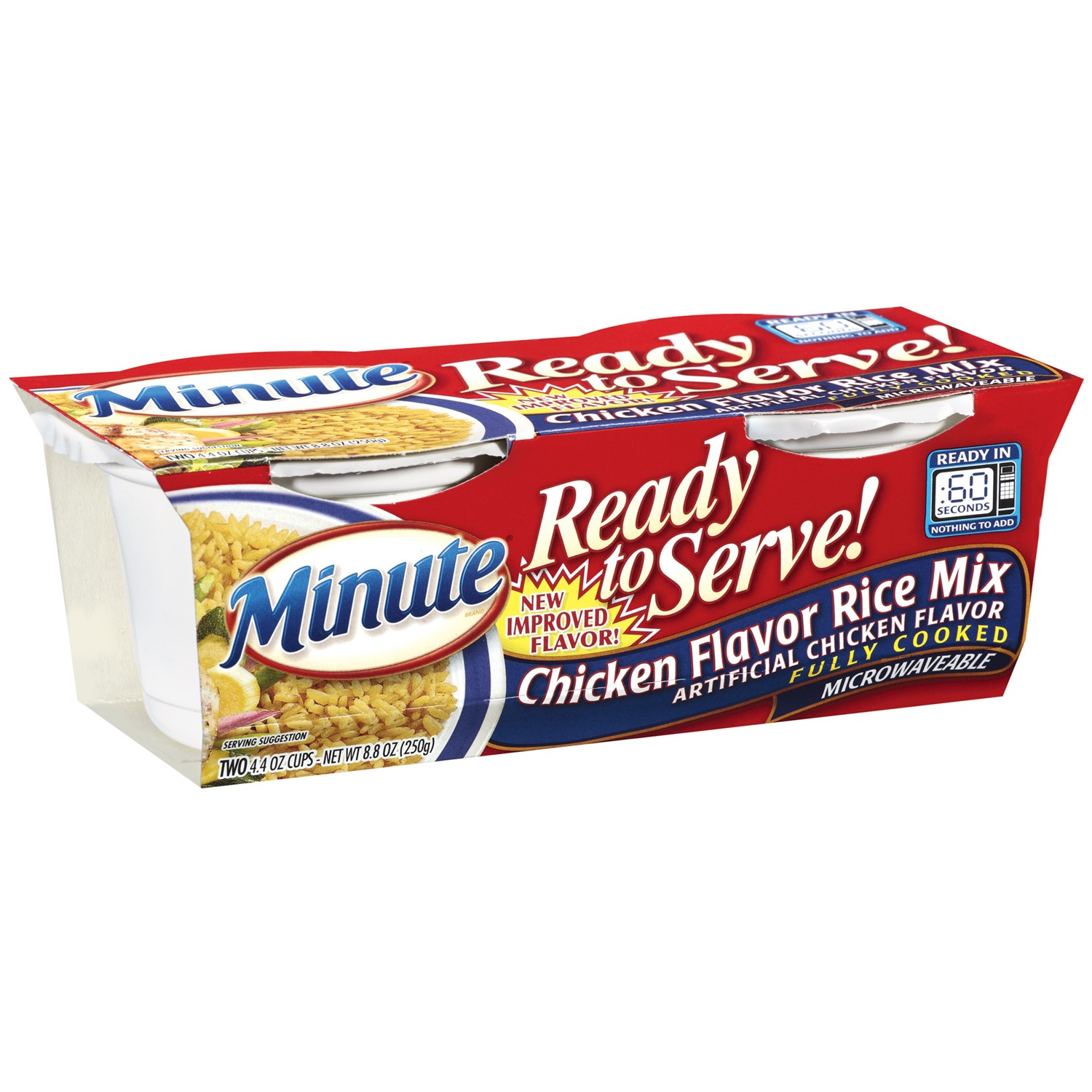 Minute Rice, Chicken Flavor, 4.4 oz, 2 Count Cups