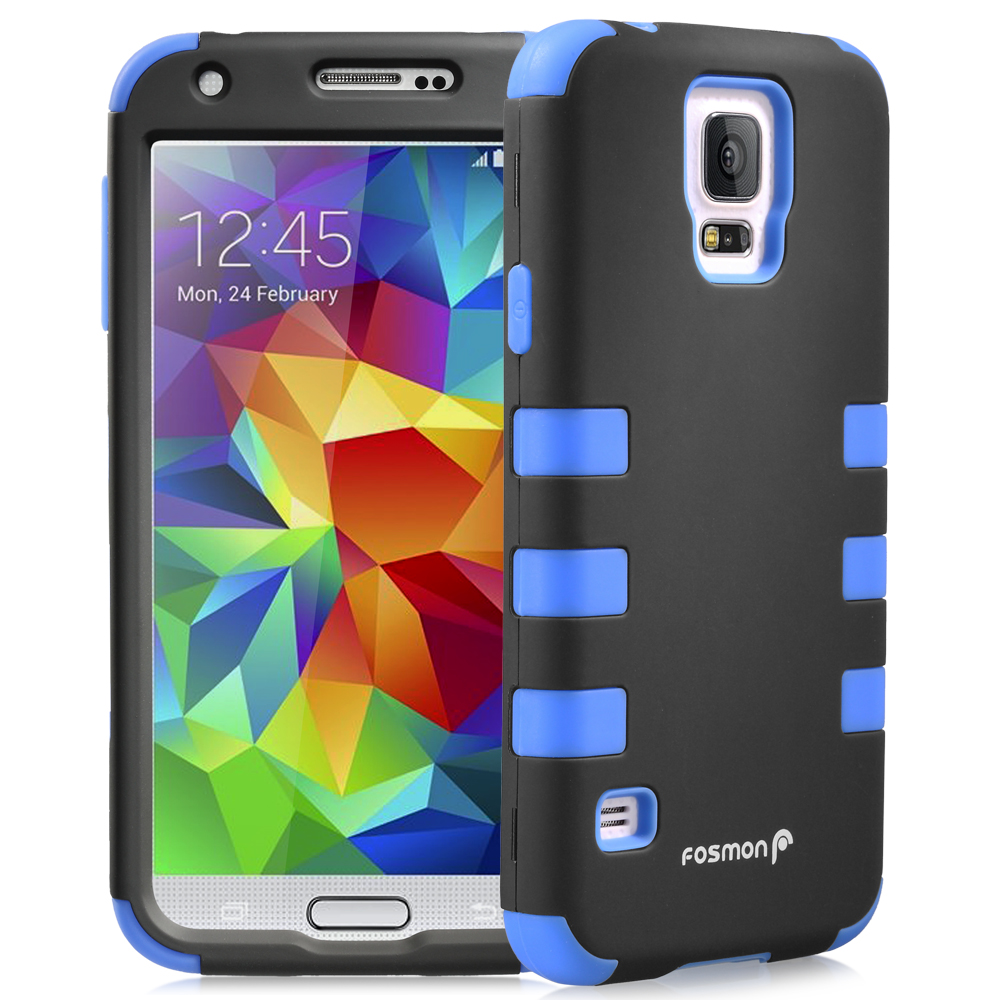 Fosmon HYBO-CAGE Hybrid Silicone   PC Case Cover for Samsung Galaxy S5 - Blue (Silicone) / Black (PC)