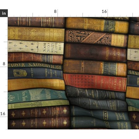 Books Book Library Shelves Fancy Victorian Fabric Printed by Spoonflower BTY ()