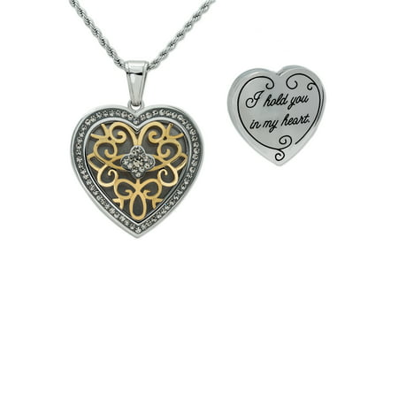 Stainless Steel Crystal Filigree Heart I Hold You In My Heart Locket Pendant with Chain