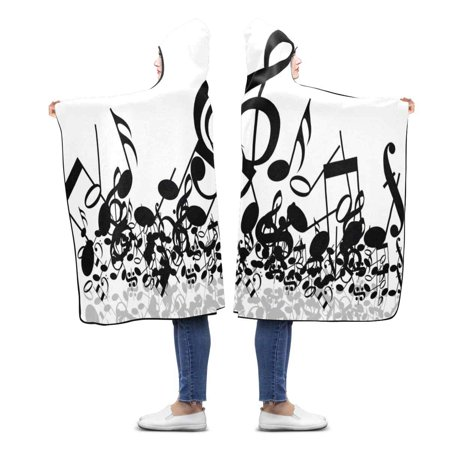 HATIART Music Note Throw Hooded Blanket 56x80 inches Adults Girls Boys Wearable Blankets - image 1 de 2