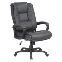 Work Smart Deluxe High Back Executive Dark Grey Glove Soft Leather Chair with Padded Loop Arms