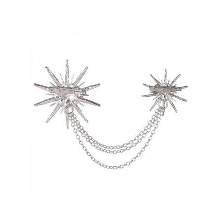 MAXSUN Brooch Snowflake Star Chain Alloy Rhinestones Jewelry Scarf
