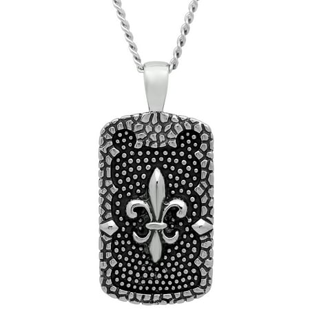Stainless Steel Fleur-De-Lis Dog Tag Pendant with 24