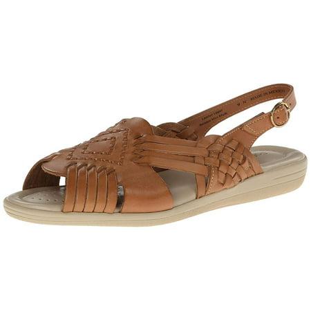 e5893e0dba36 Softspots - Softspots Womens Tela Leather Peep Toe Casual Slingback Sandals  - Walmart.com