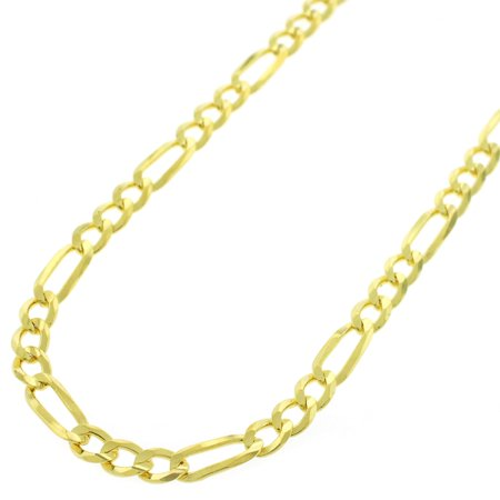 Sterling Silver Italian 4mm Figaro Link ITProLux Solid 925 Yellow Gold Plated Necklace Chain 16