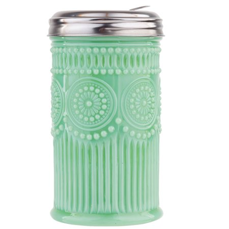 Green Glass Goblet - Jadeite Glass Sugar Shaker w/ Screw-On Metal Cap Collectible Holds 10 Ounces