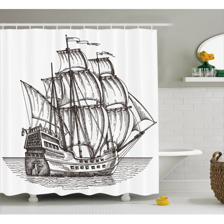 Pirate Ship Shower Curtain, Old Retro Style Ship Floating on Water ...