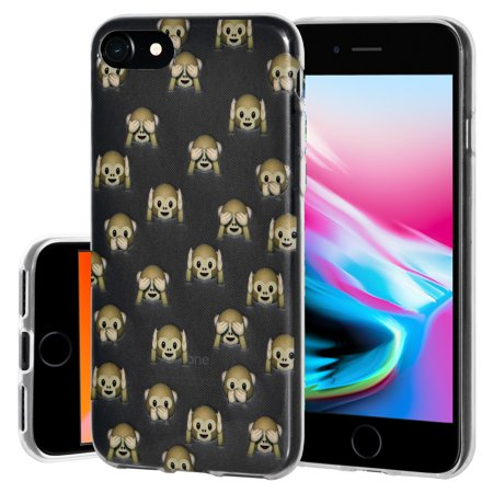 iPhone 8 Case, Premium Soft Gel Clear TPU Graphic Emoji Skin Case Cover for Apple iPhone 8 - See Hear Speak No Evil Monkeys, Support Wireless Charging, Slim Fit, ShockProof](Hear See Speak No Evil)