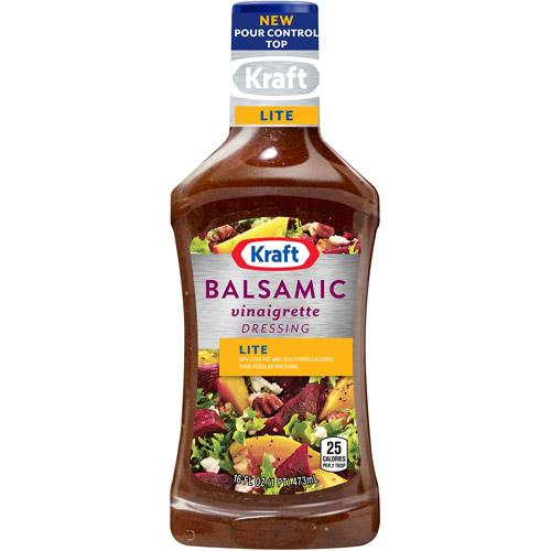 Kraft Salad Dressing: Salad Dressing Light Balsamic Vinaigrette w/Extra Virgin Olive Oil, 16 Fl Oz