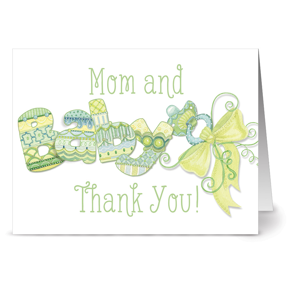 24 Note Cards - Mom and Baby Thank You Green - Blank Cards - Green Envelopes Included