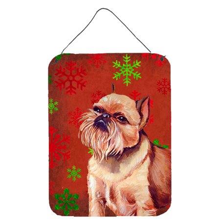 Brussels Griffon Red and Green Snowflakes Christmas Wall or Door Hanging Prints