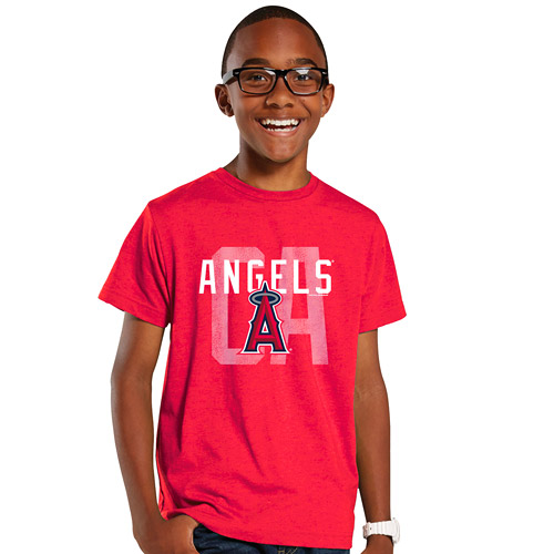 Youth Soft As A Grape Red Los Angeles Angels Layered Logo T-Shirt by SOFT AS A GRAPE
