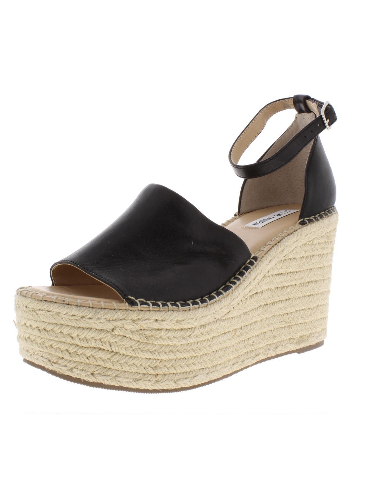 Steve Madden Womens Sway Leather Espadrilles Platform Sandals