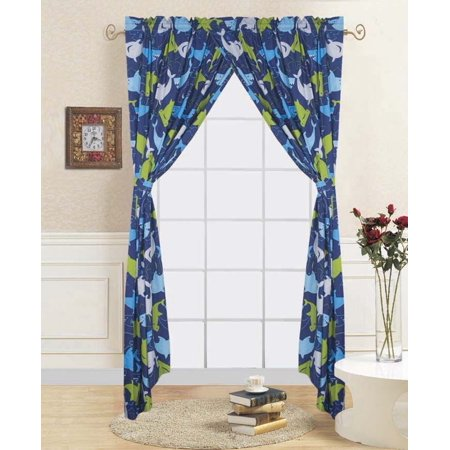 4-PC SHARK BLUE Kids Bedroom Window Panel Pair, Set of Two Rod Pocket  Curtains 38\