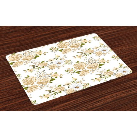 Flowers Placemats Set of 4 Gardening Theme Floral Design Vector Illustration of Roses Botany Inspired, Washable Fabric Place Mats for Dining Room Kitchen Table Decor,White and Beige, by Ambesonne (Roses Place)