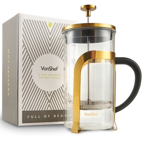 VonShef 8-Cup Stainless Steel Heat Resistant French Press Coffee Maker