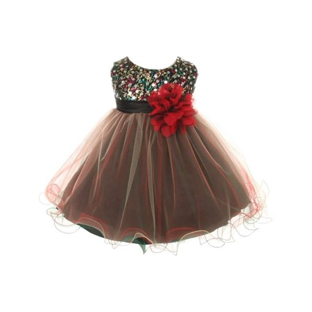 Kids Dream Baby Girls Red Multi Sequin Tulle Special Occasion Dress 6M