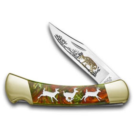 BUCK 110 Custom Fire Mist Green Corelon Running Deer 1/400 Pocket Knife Knives
