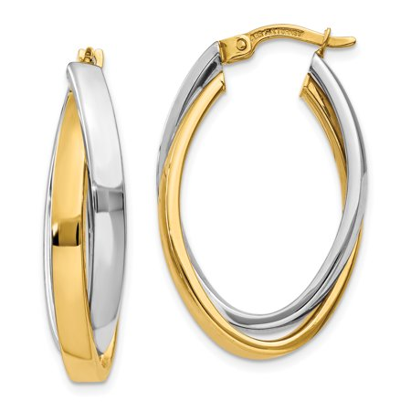 14k Two-tone Oval Hoop Earrings Fine Jewelry For Women Gifts For Her - image 6 de 6