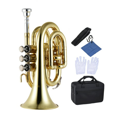 ammoon Mini Pocket Trumpet Bb Flat Brass Wind Instrument with Mouthpiece Gloves Cleaning Cloth Carrying