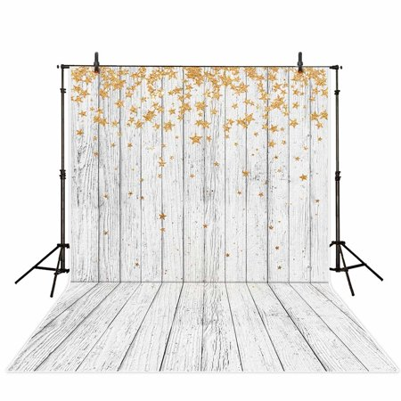 HelloDecor Polyster 5x7ft stars white wooden backdrops photography backdrop background flowers photo studio prop for newborn baby shower adult - Baby Shower Backdrops