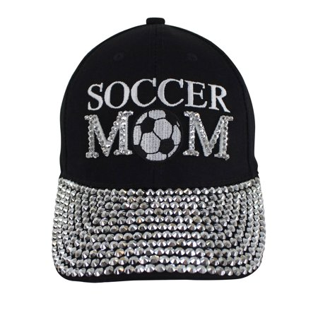 Soccer Mom Black Rhinestone Covered Baseball Cap - Soccer Cap