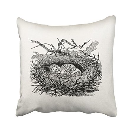 WinHome Vintage Speckled Eggs Bird Nest Personalized Birds Pencil Drawing Tribal Polyester 18 x 18 Inch Square Throw Pillow Covers With Hidden Zipper Home Sofa Cushion Decorative Pillowcases