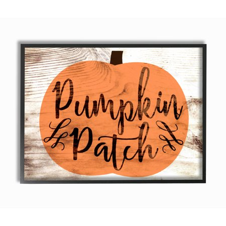 The Stupell Home Decor Collection Pumpkin Patch Halloween Typography Framed Giclee Texturized Art, 11 x 1.5 x 14