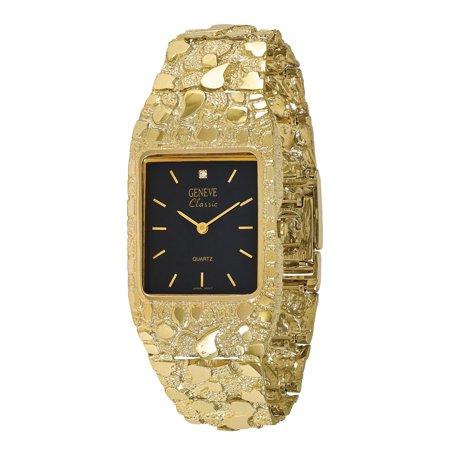 Gold Ladies Link Watch - 10k Black 27x47mm Dial Square Face Nugget Watch