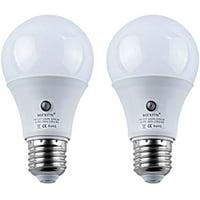 2pcs LED Sensor Bulbs , 7W E27 Dusk to Dawn Smart LED Light Bulb Energy Save Automatic Sensor Ball Lamps (4000K-Natural White)