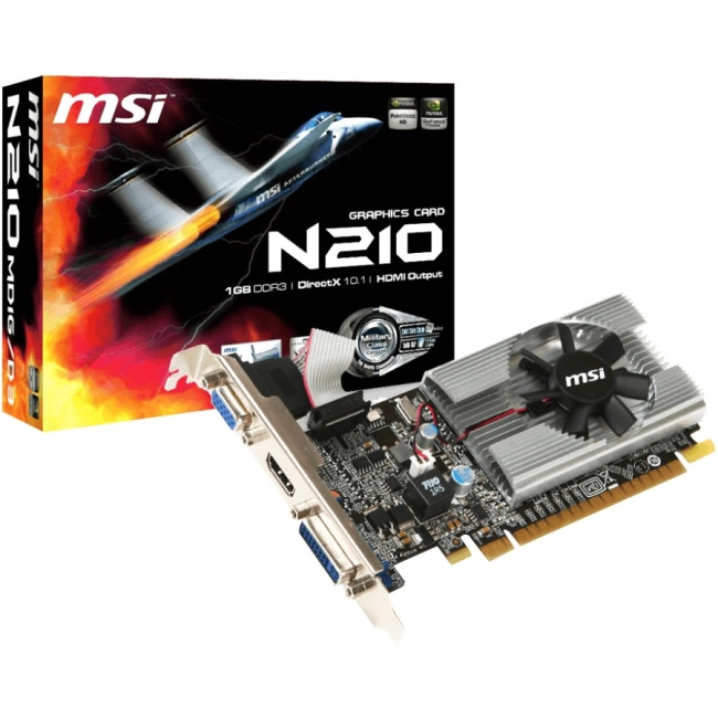 MSI NVIDIA GeForce 210 1GB GDDR3 VGA/DVI/HDMI Low Profile PCI-Express Video Card N210-MD1G/D3