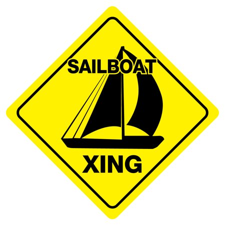 SAILBOAT XING Funny Novelty Crossing Sign