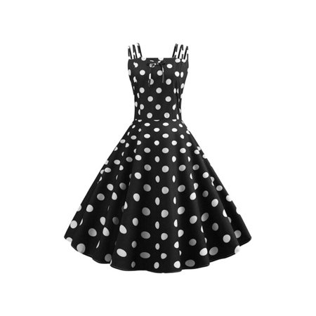 Women Strappy Polka Dot Rockabilly Swing Midi Dress Summer Evening Party Retro
