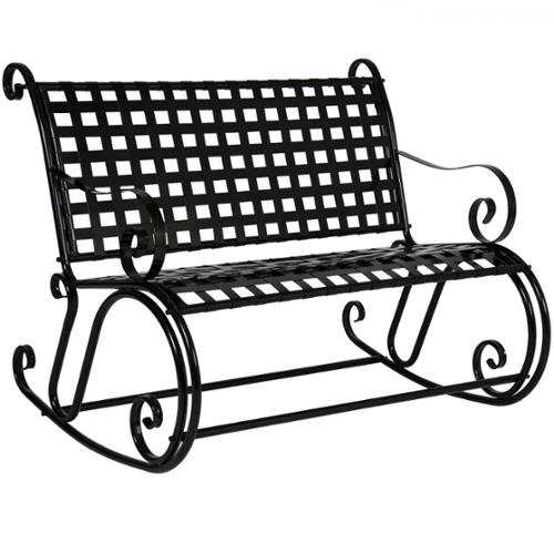 BCP Patio Iron Scroll Double Rocker Rocking Porch Chair Bench Antique Black