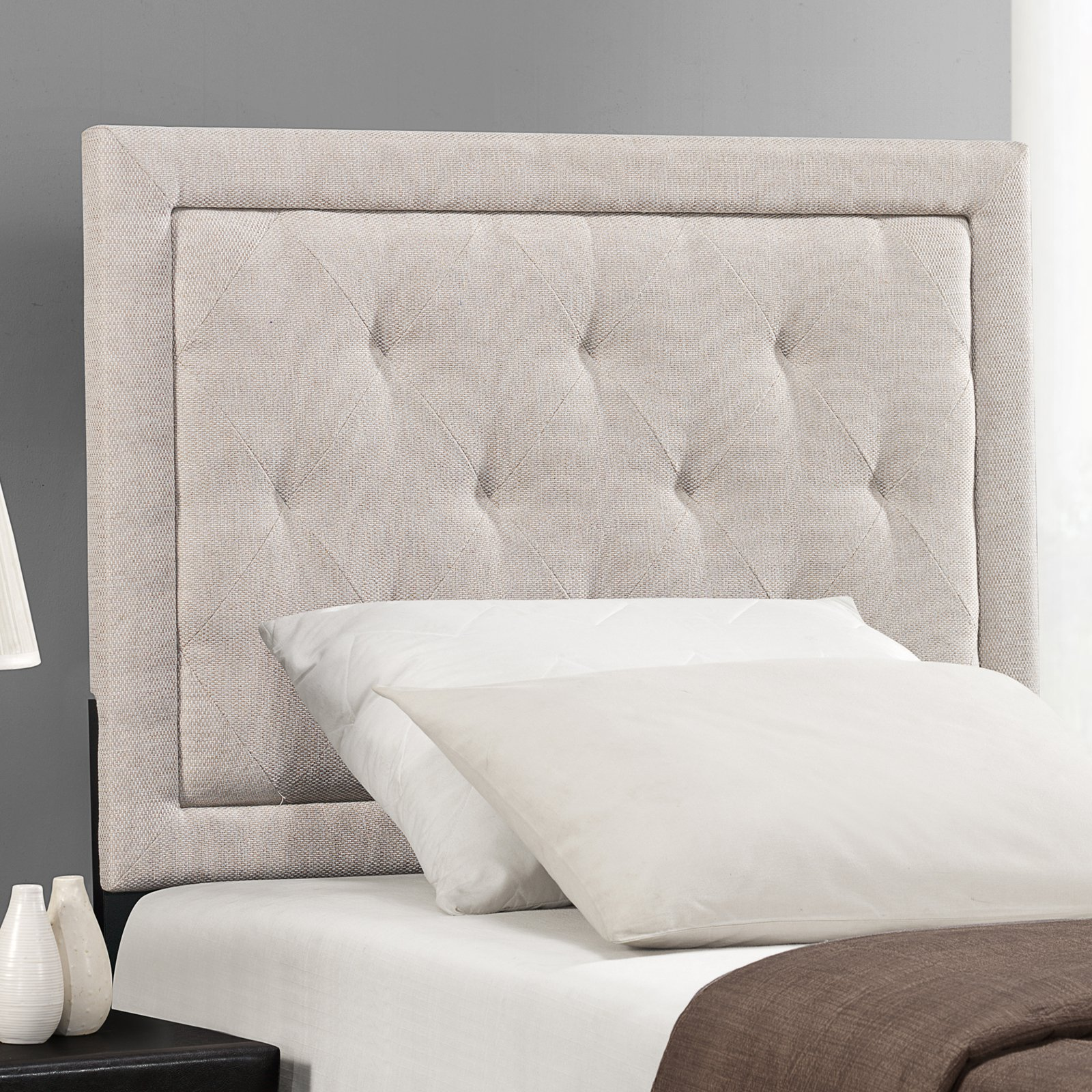 Hillsdale Furniture Becker King Headboard with Bedframe, Cream