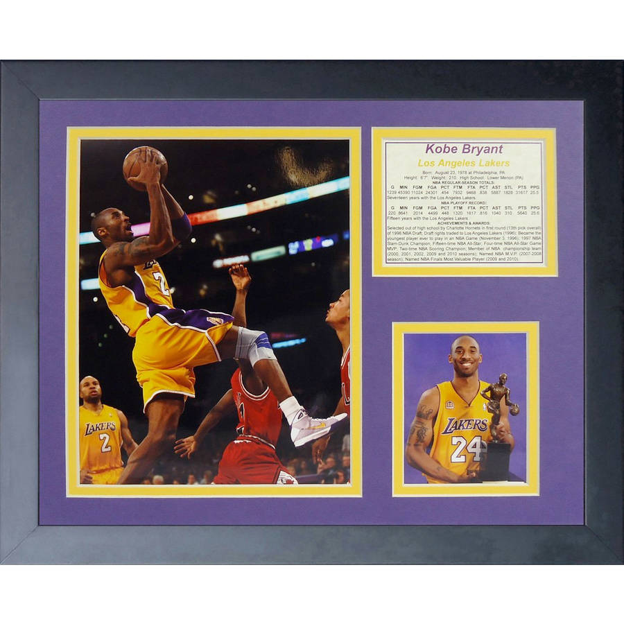 Kobe Bryant Gold Jersey Framed Photo Collage, 11x14, by Legends Never Die