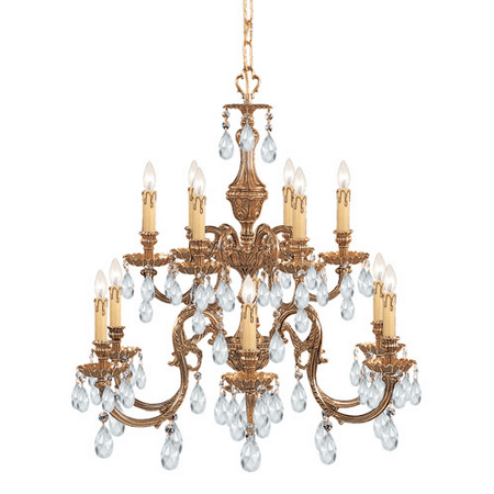 Chandeliers 6 Light With Olde Brass Clear Hand Cut Clear Crystal Cast Brass 26 inch 360 Watts - World of Lighting
