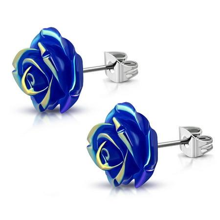 Stainless Steel Shimmer Resin Rose Flower Floral Stud Post Earrings
