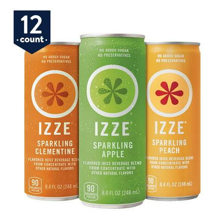 IZZE Sparkling Juice, 3 Flavor Variety Pack, 8.4 oz Cans, 12