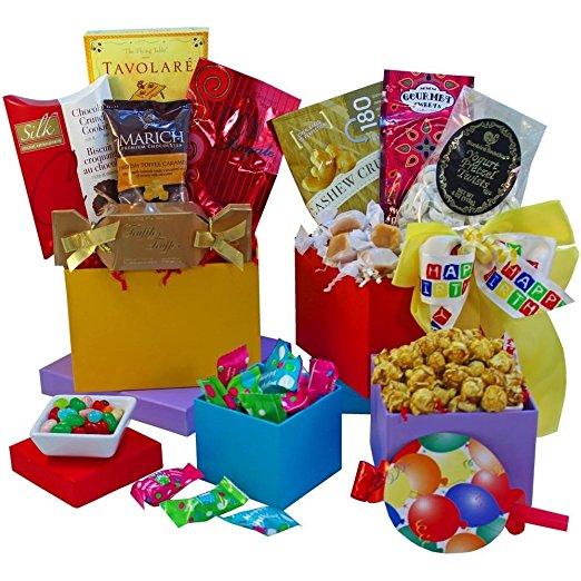 Happy Birthday Surprise! Gourmet Food and Snacks Gift Tower (Chocolate Option)