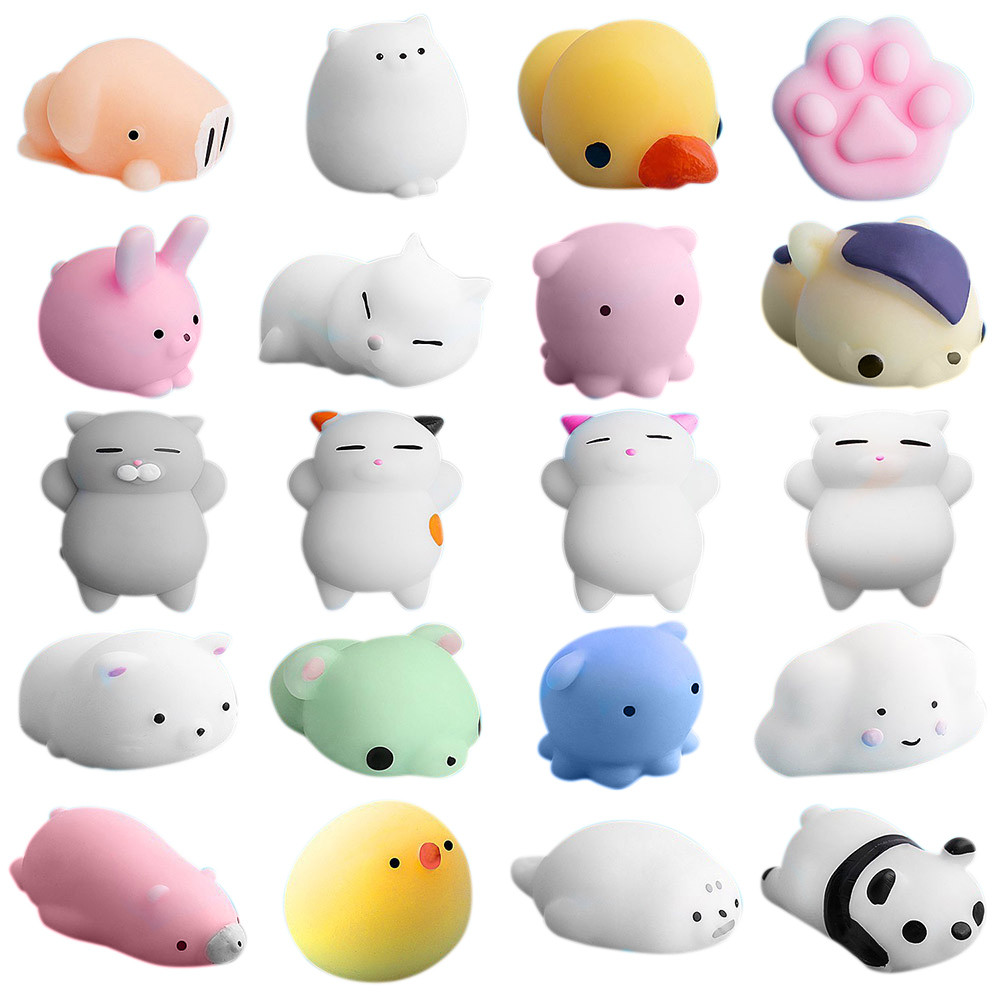 New amusing 20pc Cute Mochi Squishy Cat Squeeze Healing Fun Kids Kawaii Toy Stress Reliever