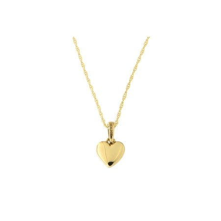 14k Yellow Gold Small Puffed Heart Pendant Necklace, 13 15 16 18 20 or 22 14k Gold Small Heart