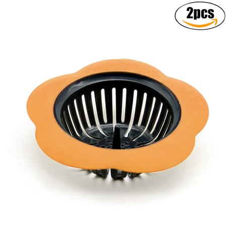 Install Basket Strainer - Outgeek 2Pcs Sink Strainers Flower Shape Anti-Clogged Plastic Strainer Baskets Drain Strainers for Kitchen Bathroom Sink