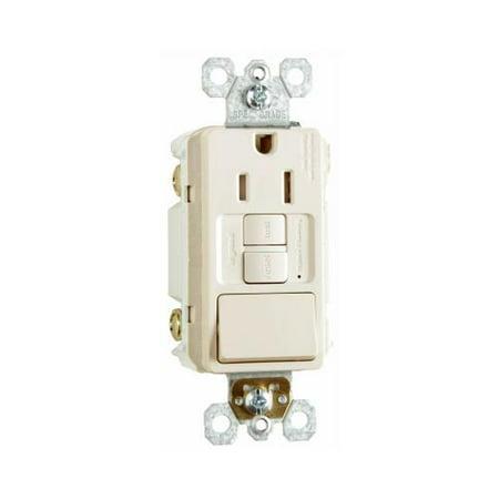Pass & Seymour 1597SWTTRLACCD4 GFCI Receptacle/Single-Pole Switch, 15A, Almond - Quantity 1