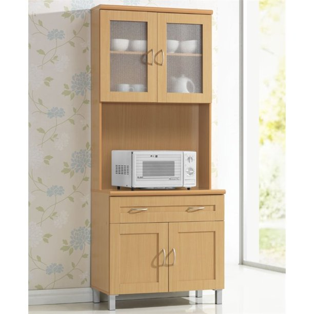 Hodedah Kitchen Cabinet With Top And Bottom Enclosed Cabinet Space In Beige Wood Walmart Com Walmart Com