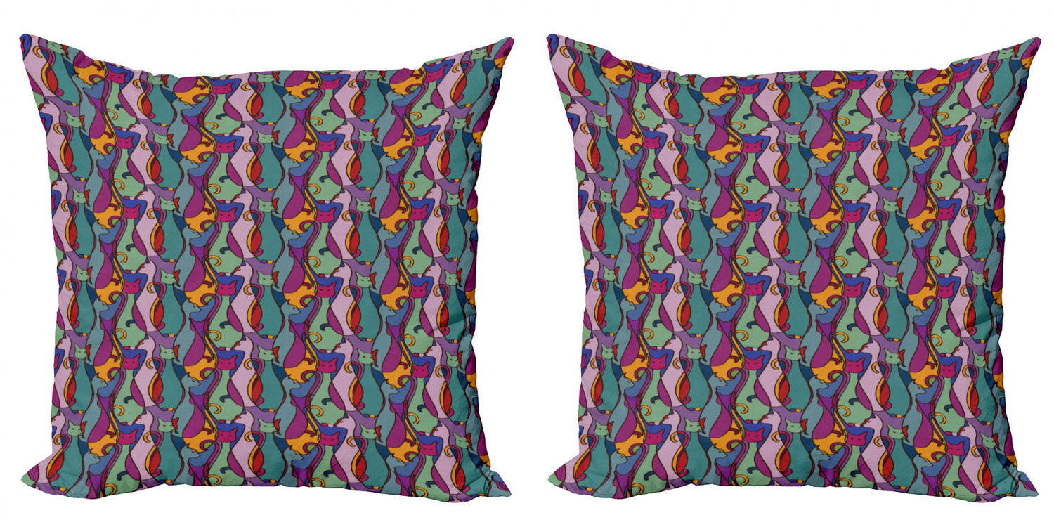 Cat Throw Pillow Cushion Cover Pack Of 2 Geometric Colorful Cats Abstract Composition Cultural Zippered Double Side Digital Print 4 Sizes Multicolor By Ambesonne Walmart Com Walmart Com